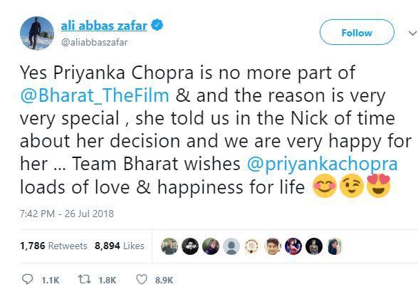 Ali Abbas Zafar tweet about Priyanka's Engagement