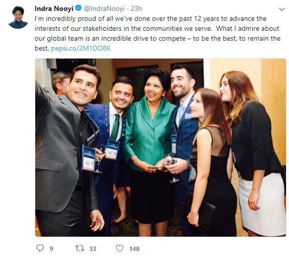 Indra Nooyi's Tweet about Pepsico and Team