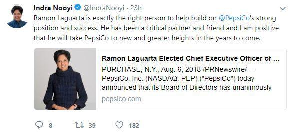 Indra Nooyi's Tweet about Ramon Laguarta
