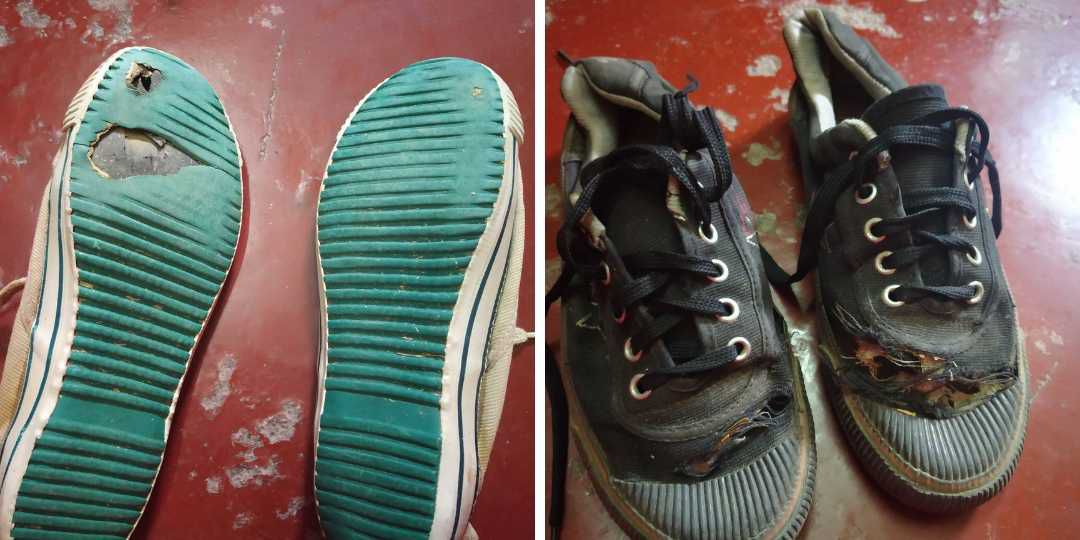 Two Pair of Torn Shoes