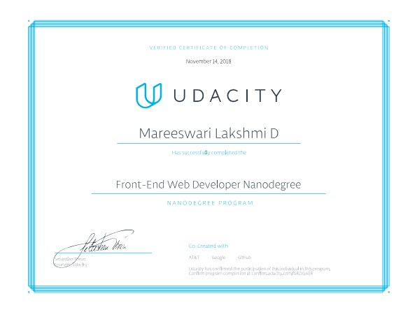 mareeswari's udemy certificate