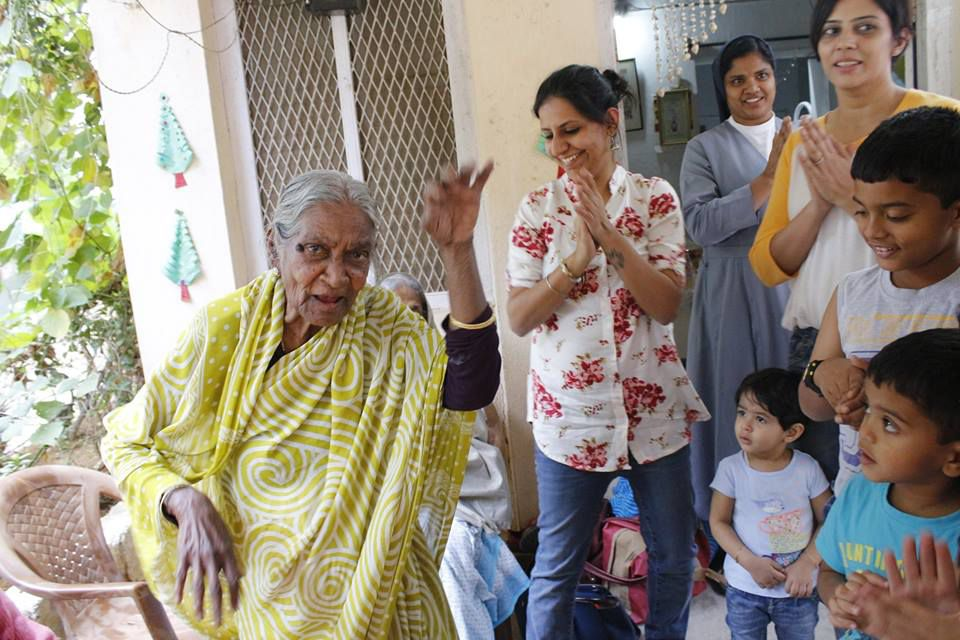simran at an oldage home