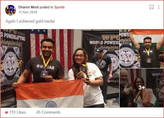 Dharini's post on sheroes after winning gold medal