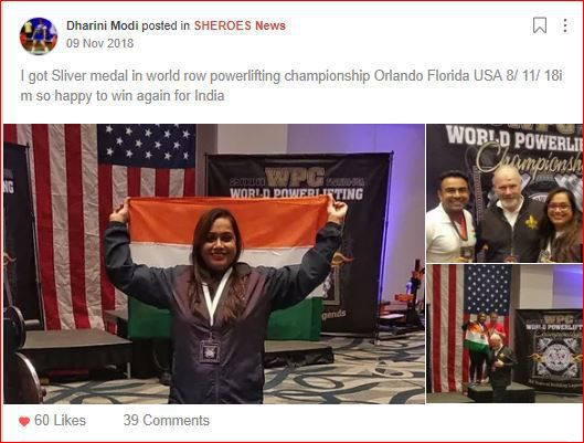dharini's post on winning silver medal