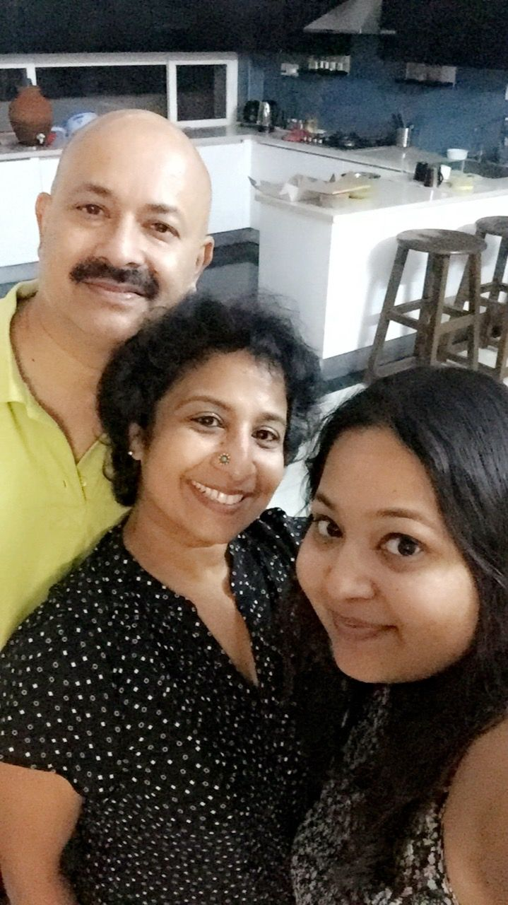 ganga with daughter and husband