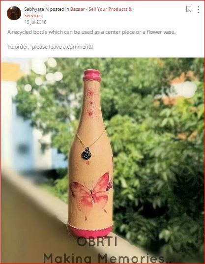 sabhyata posts an upcycled bottle
