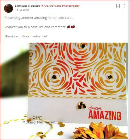 sabhyata posts about handmade card