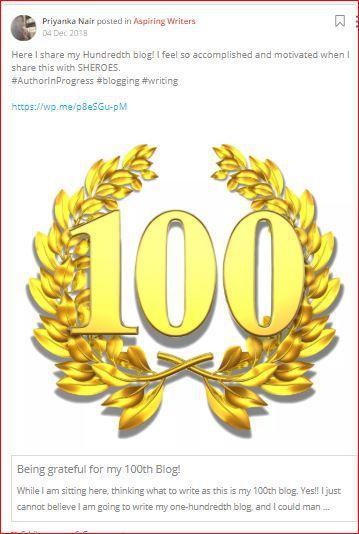 priyanka celebrates her 100th blog post