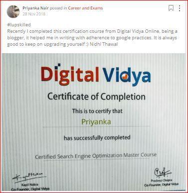 priyanka posts seo training certificate