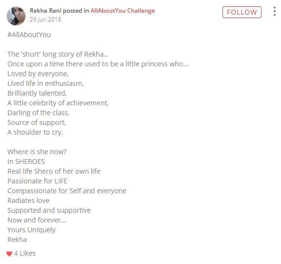 rekha rani post on sheroes
