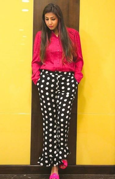 swati wearing polka dot pants