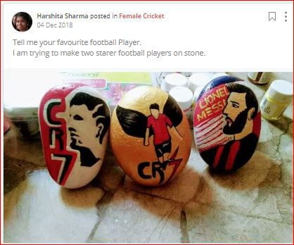 harshita paints football players on stone