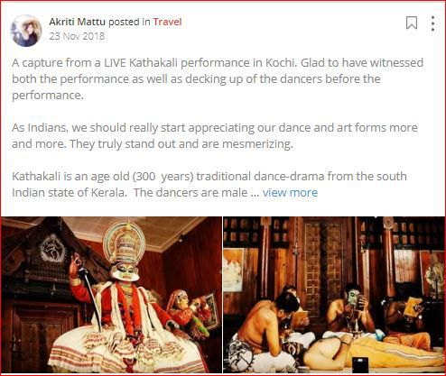 akriti posts about kathakali