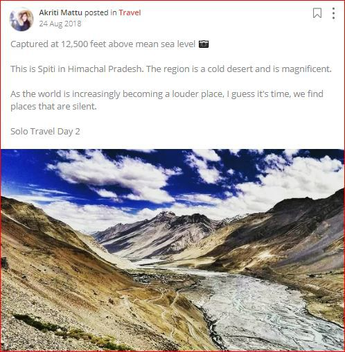 akriti posts about solo travel
