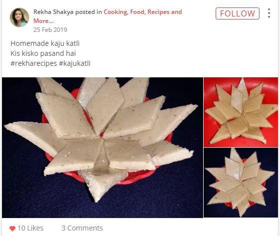 rekha homemade kaju katli
