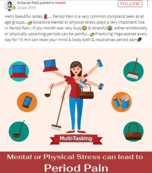 dr aarati post on period pain