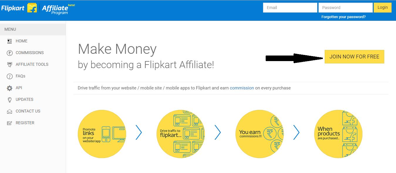 flipcart affiliate - register