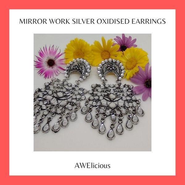 Mirror Work Silver Oxidised Earrings