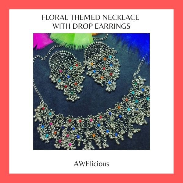 Floral Themed Round Necklace With Gorgeous Drop Earrings