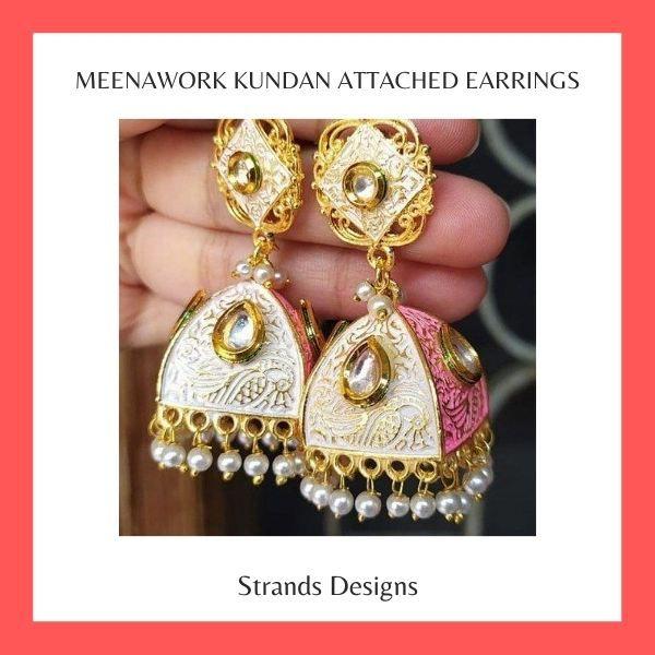 Meenawork kundan attached earrings