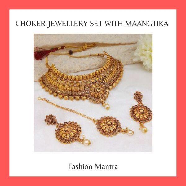 Gold Plated Choker Jewellery Set With Maangtika