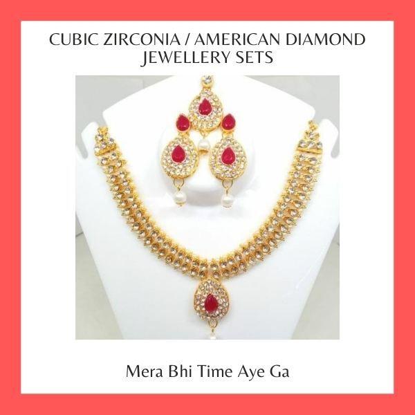 Cubic Zirconia American Diamond Jewellery Sets