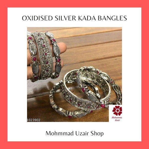 Oxidised Silver Kada Bangles