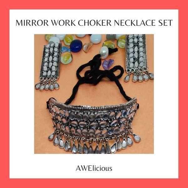 Mirror Work Choker Necklace Set