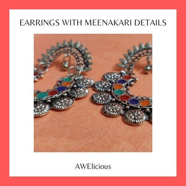 Earrings With Meenakari Details