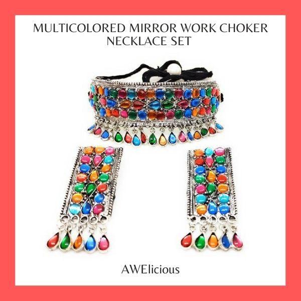 Multicolored Mirror Work Choker Necklace Set