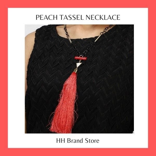 Peach Tassel Necklace