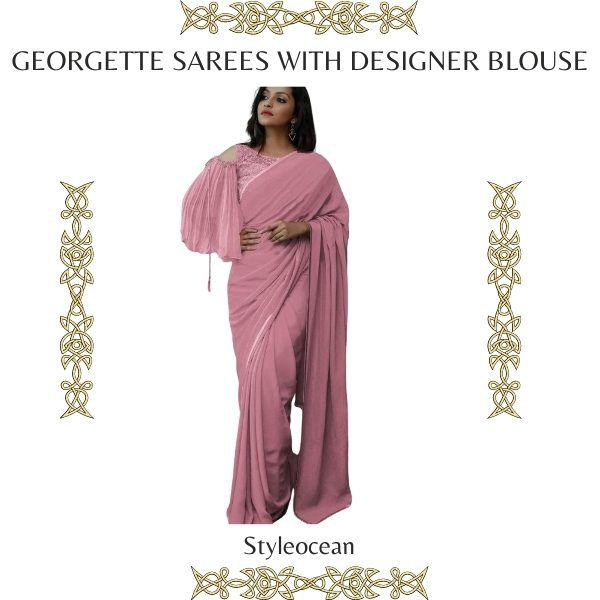 Georgette Sarees With Designer Blouse