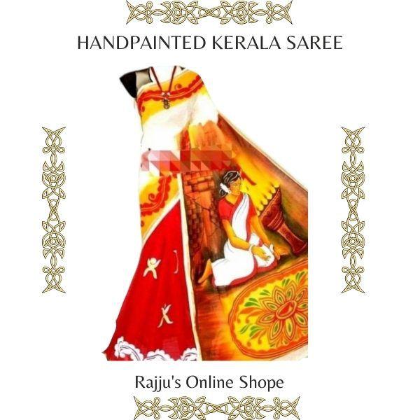 Hand-Painted Traditional Kerala Saree