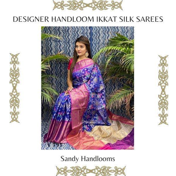 Designer Handloom Ikkat Silk Sarees
