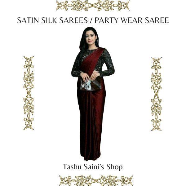 Satin Silk Sarees Party Wear Saree