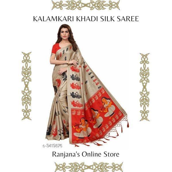Kalamkari Khadi Silk Saree