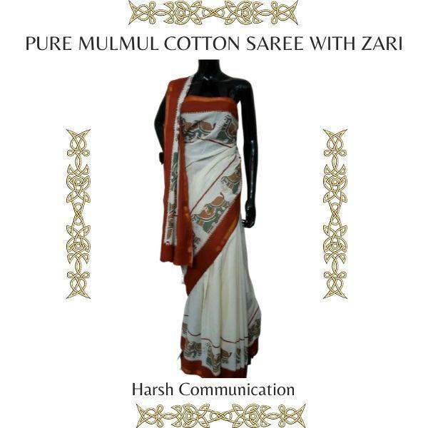 Pure Mulmul Cotton Saree With Zari